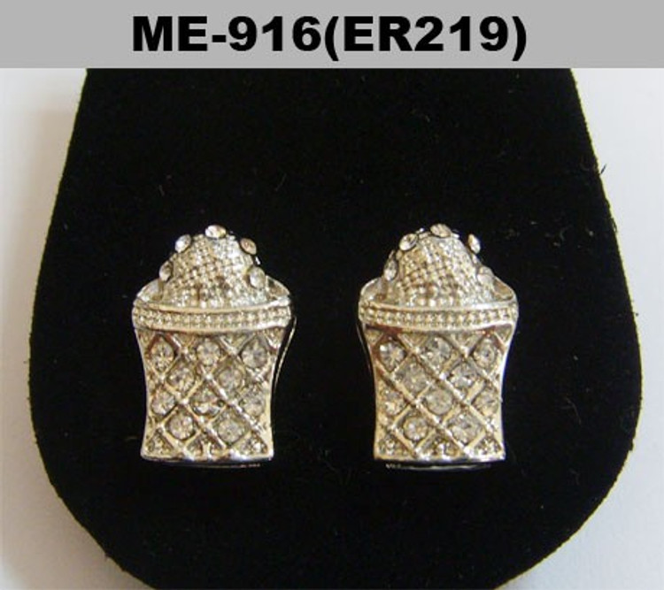 Basketball Hoop Diamond Cz Hip Hop Bling Silver Earrings