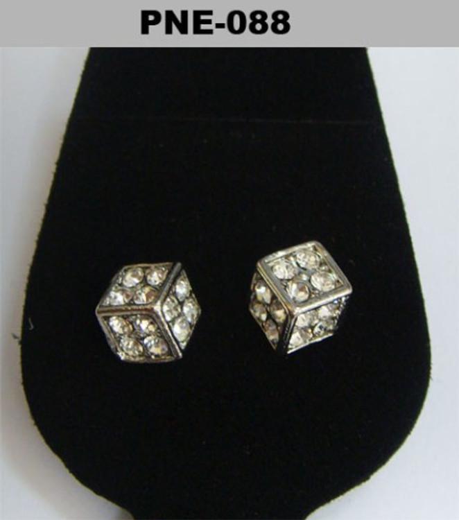 Cz Cubed Rhodium Silver Hip Hop Earrings