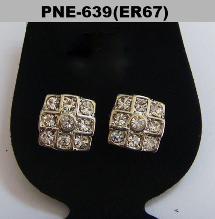 Cross Squared Iced Out Silver Cz Bling Earrings