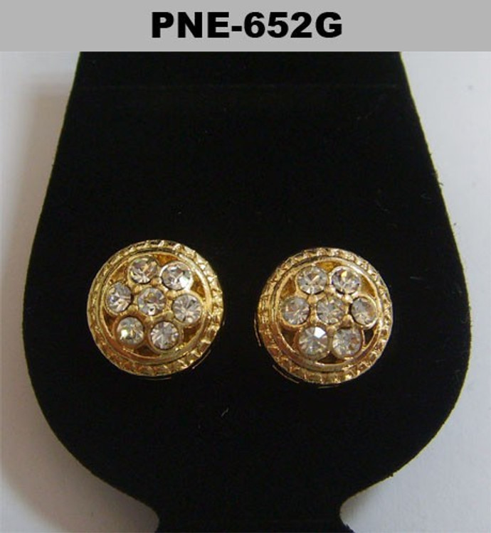 Mens Circle Stone Iced Out Cz Gold Earrings