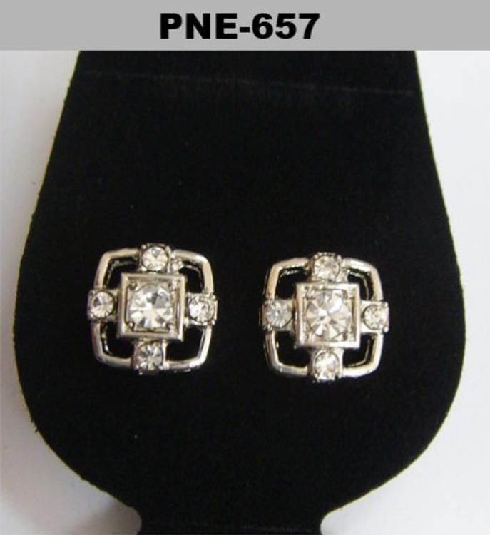 Center Stone Rhodium Silver Cz Bling Earrings