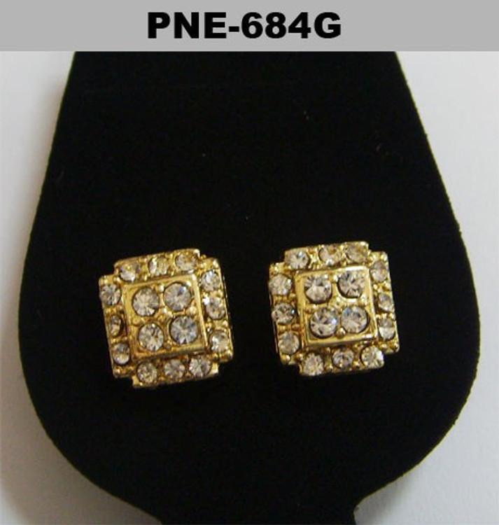 Mens Cz Cluster Stone Gold Bling Earrings
