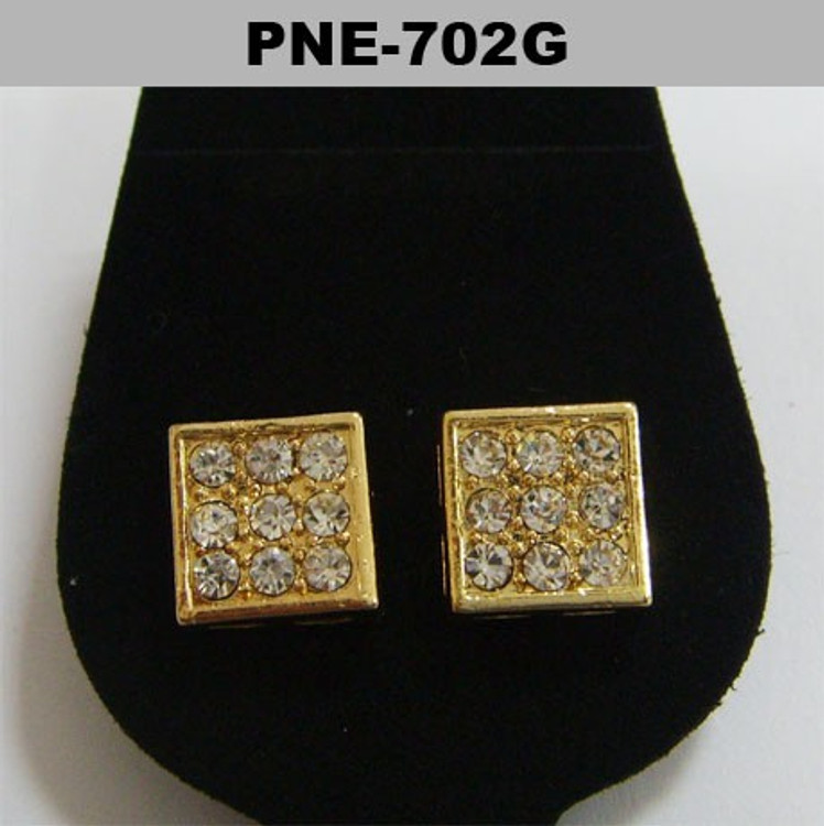 Mens 4mm Clean Cut Square Cz Gold Bling Iced Out Earrings