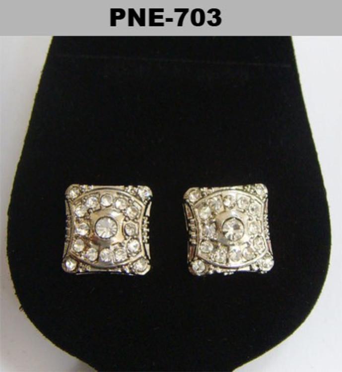 Cz Shield Stone Rhodium Silver Bling Earrings