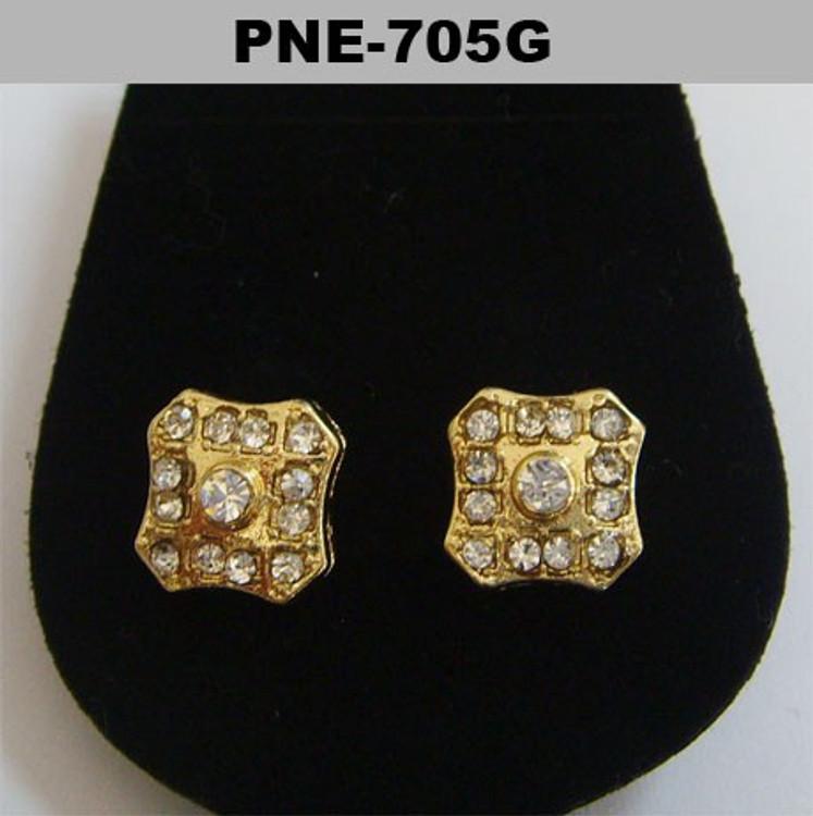 Center Stone Badge Gold Plated Hip Hop Bling Earrings