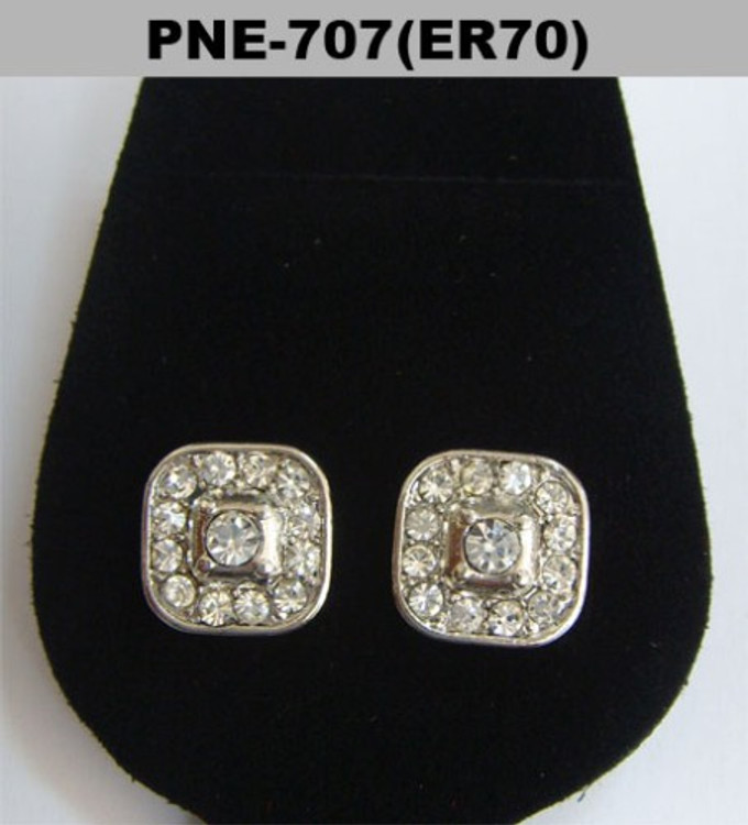 Deep Dish Center Stone Rhodium Silver Hip Hop Bling Earrings