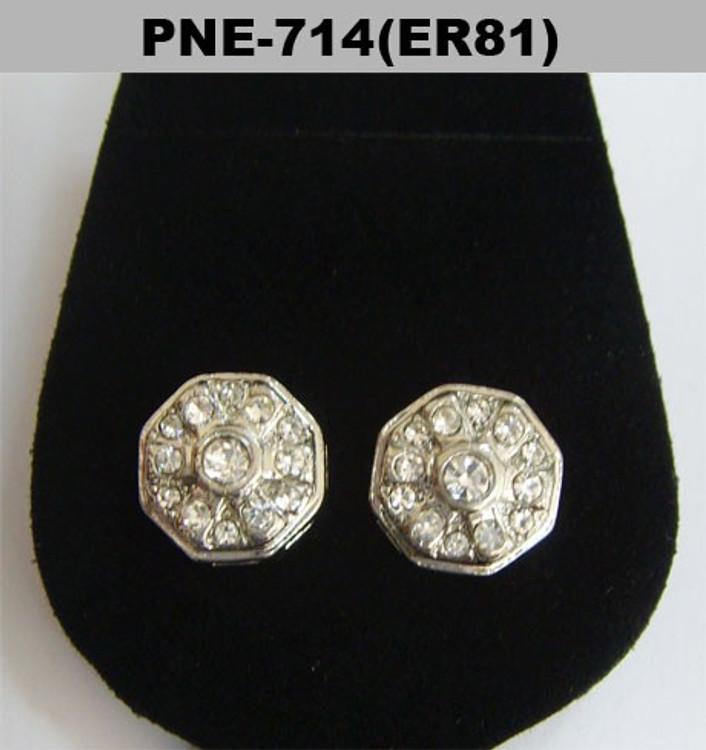 Center Stone Octagon Rhodium Silver Diamond Cz Earrings