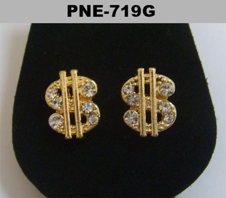 Mens Cz Dollar Sign Gold Hip Hop Bling Earrings