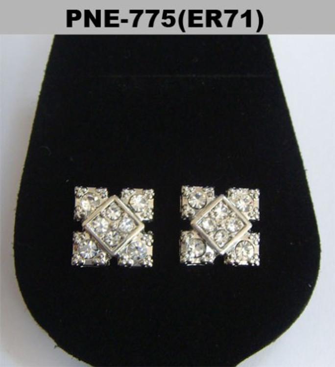 Cz Center Square Bling Silver Hip Hop Earrings