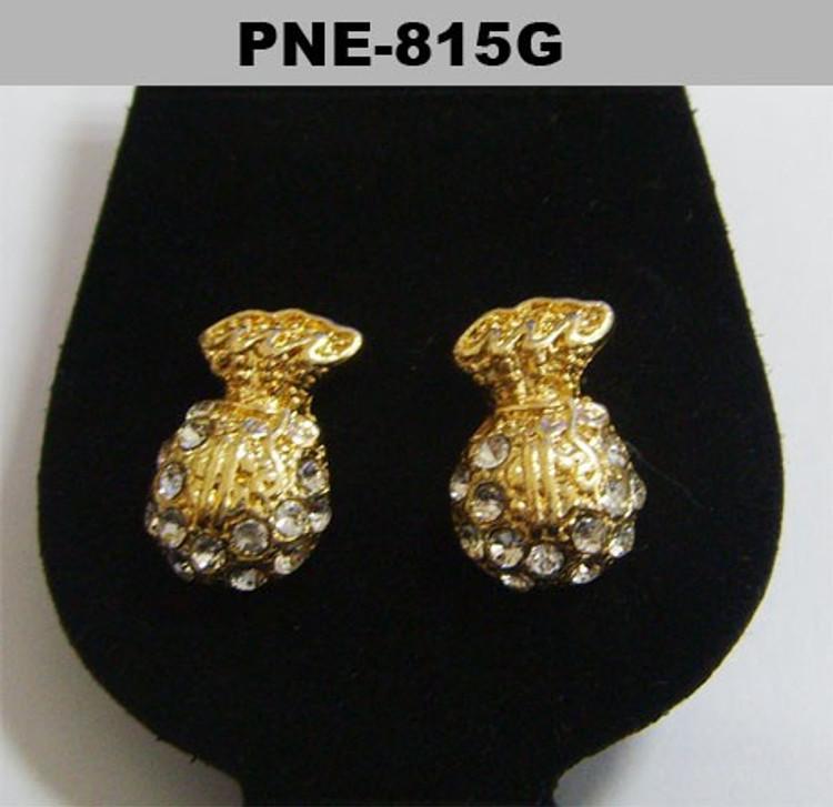 Cash Money Bag Gold Iced Out Bling Earrings