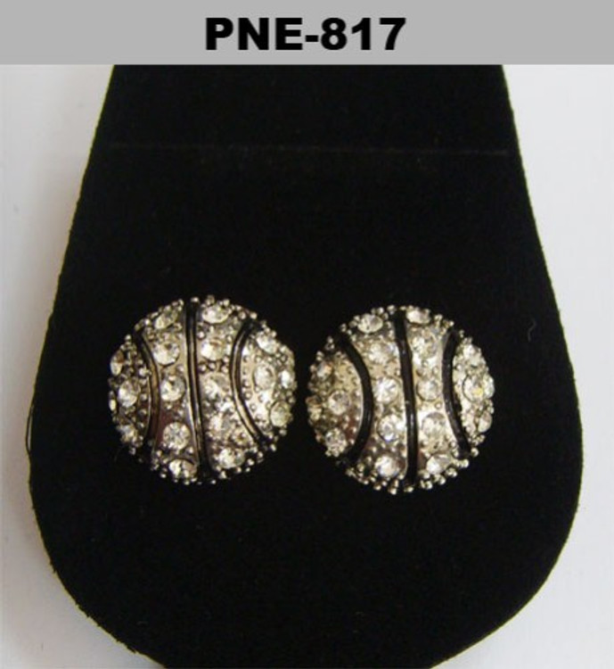 Basketball Rhodium Silver Cz Earrings