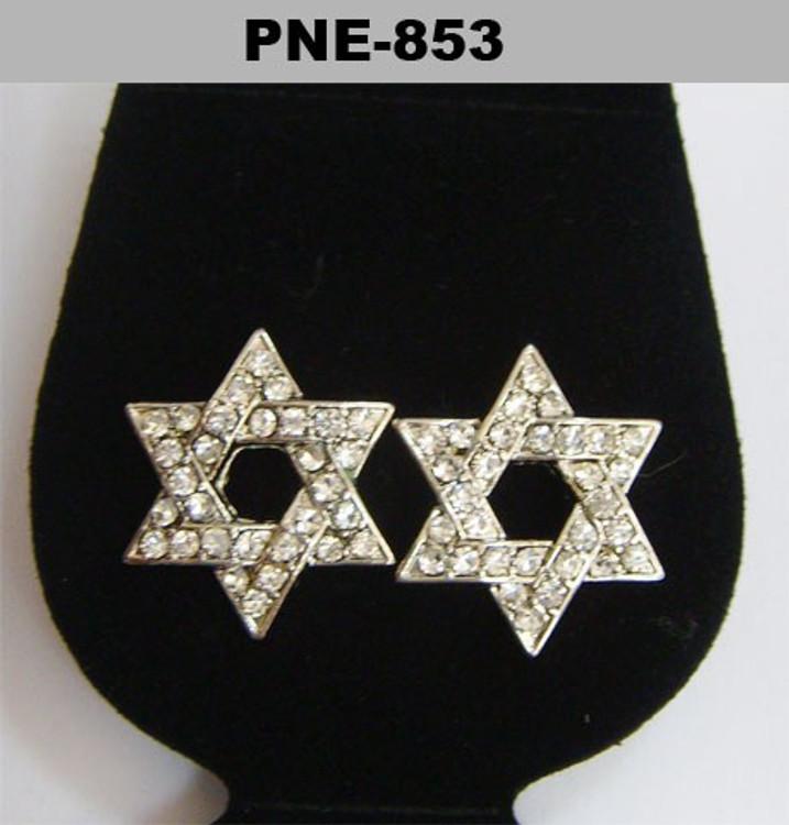 Cz Star of David Rhodium Silver Bling Earrings