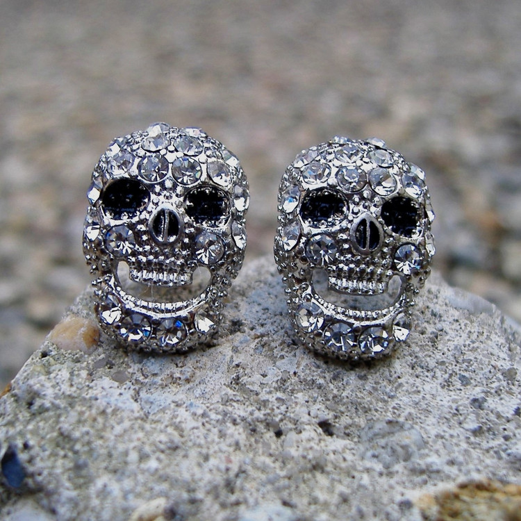 Laughing Skull Skeleton Iced Out Earrings