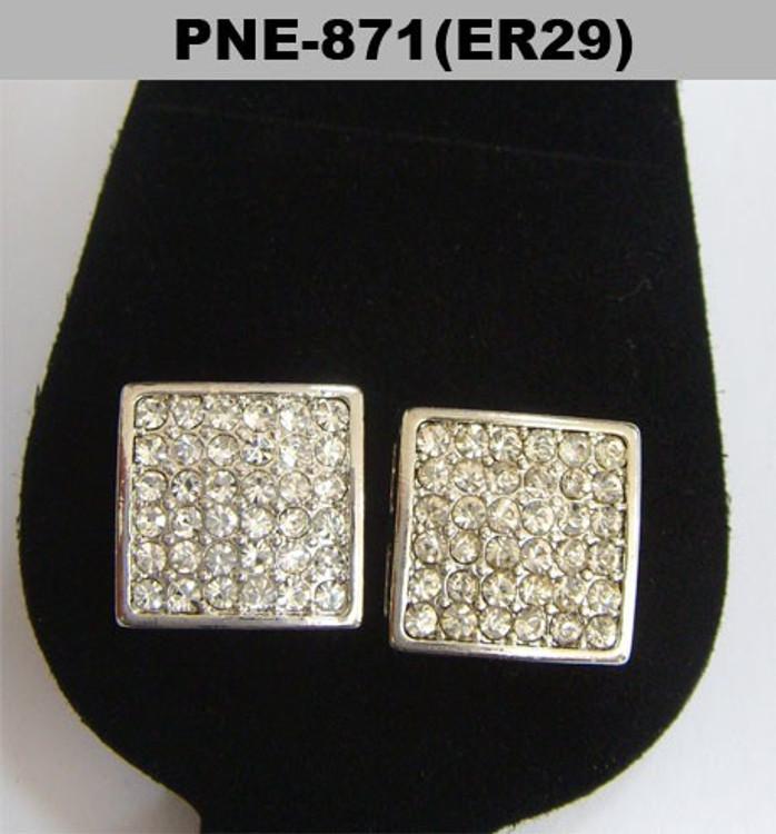 9mm Square Cut Rhodium Silver Hip Hop Bling Earrings