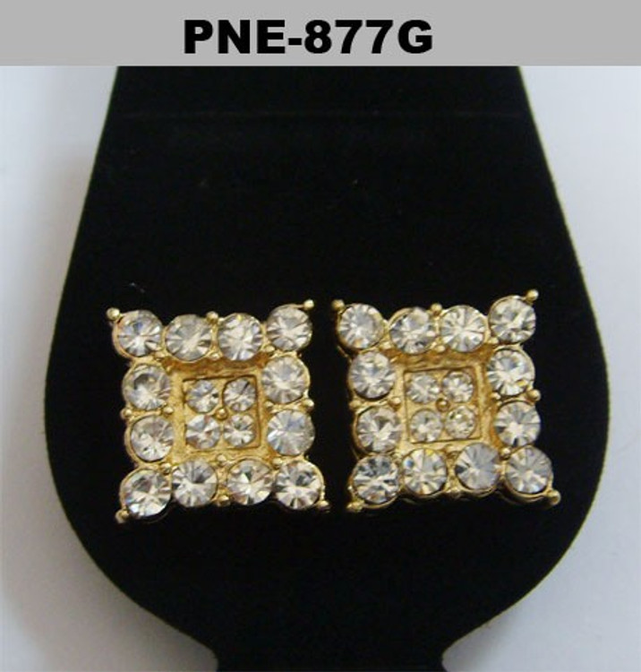 Gold Iced Out Prong Set Square Diamond Cz Bling Earrings