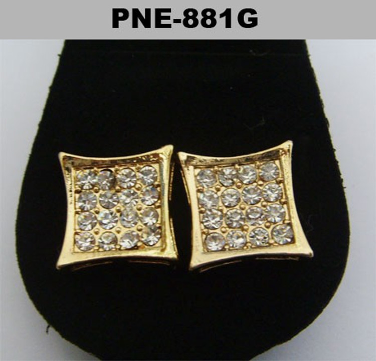 Gold Deep Set Diamond Cz Hip Hop Kite Earrings