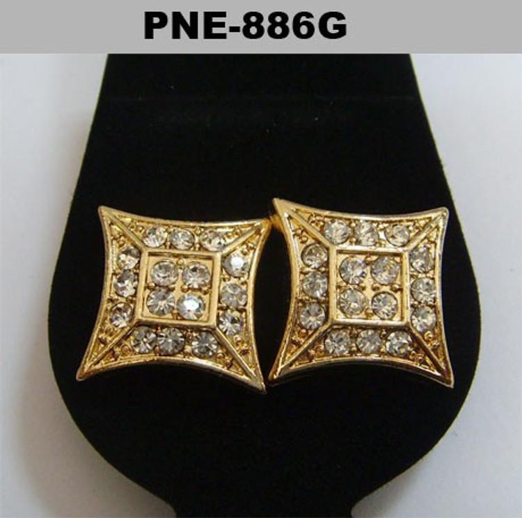 Flat Kite Gold Bling Diamond Cz Baller Iced Out Earrings