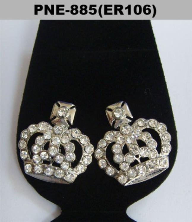 Big Kings Crown Rhodium Silver Cz Bling Earrings