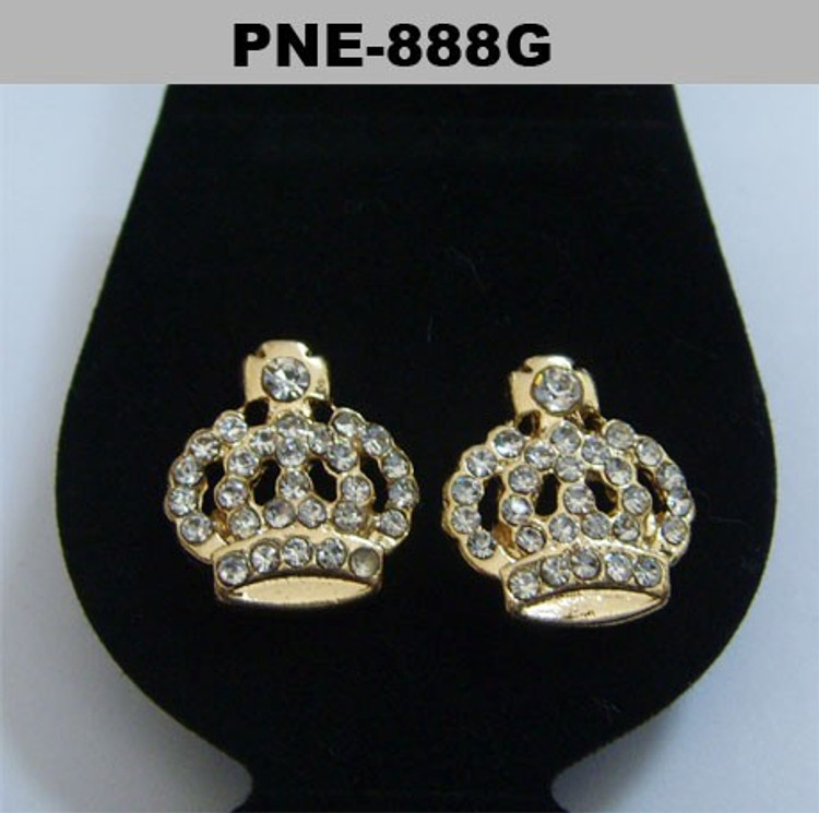 Iced Out Kings Crown Gold Diamond Cz Bling Earrings