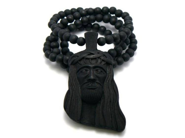 King Of Kings Wood JESUS Piece Hip Hop Pendant Black