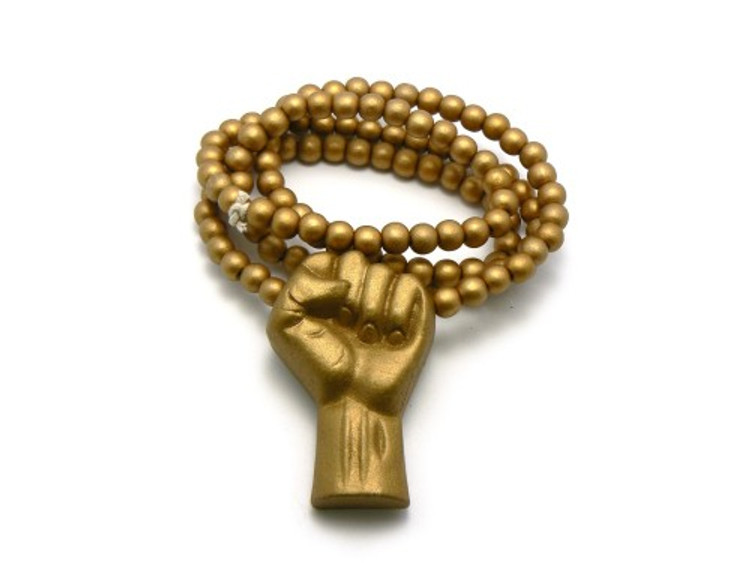 Black Power Fist Gold Wooden Hip Hop Pendant