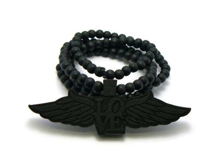 Flying Love Wooden Black Pendant w/ Beaded Chain