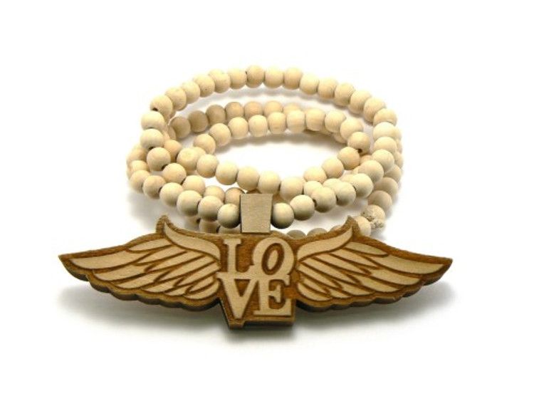 Flying Love Wooden Natural Pendant w/ Beaded Chain