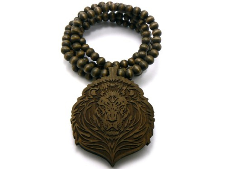 Lion Head Wooden Beaded Chain Pendant Brown