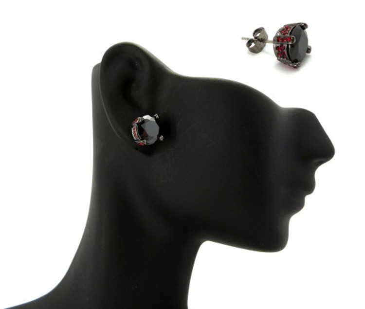 9mm Black & Red Diamond Cz Stone Black Hematite Iced Out Earrings