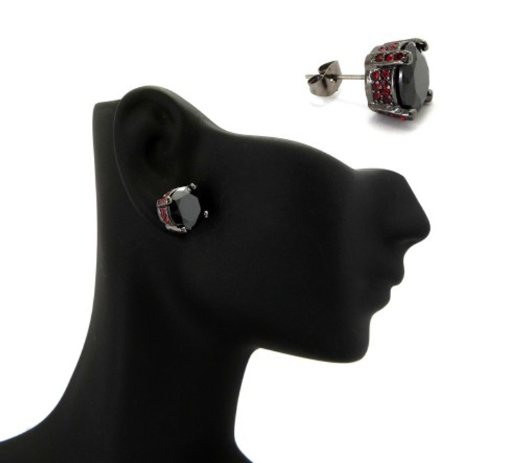 10mm Black & Red Stone Black Hematite Iced Out Earrings