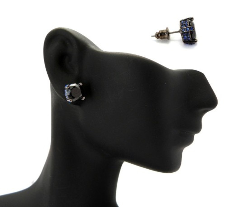 8mm Black & Blue Stone Black Hematite Iced Out Earrings