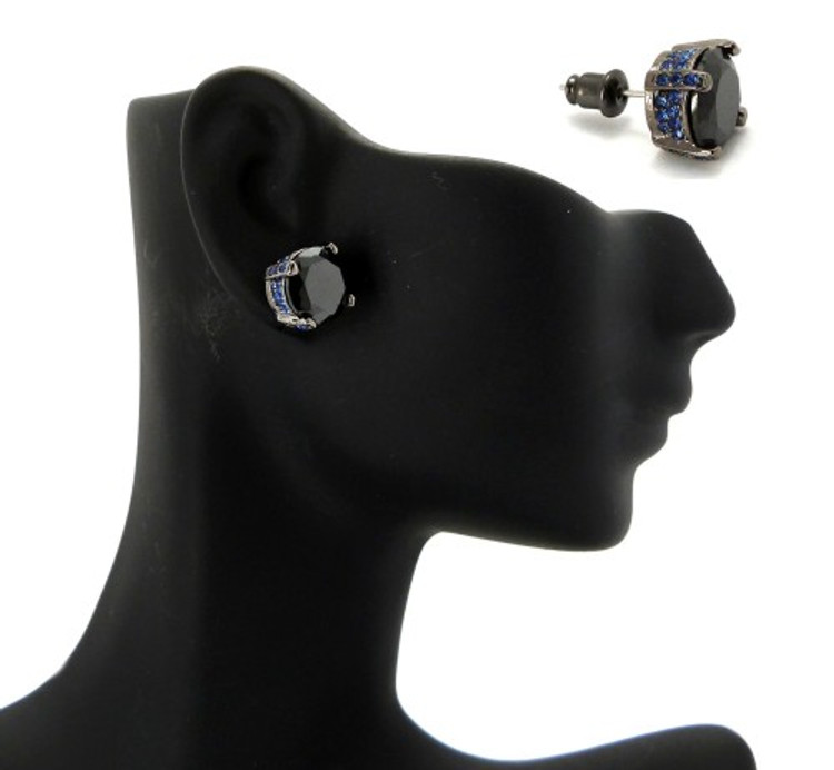 10mm Black & Blue Stone Black Hematite Iced Out Earrings