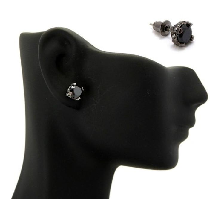 6mm Black on Black Stone Black Hematite Hip Hop Earrings