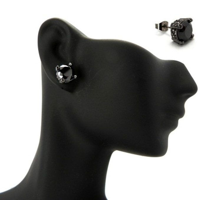 8mm Black on Black Stone Black Hematite Hip Hop Earrings