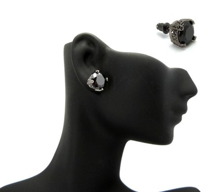 10mm Black on Black Stone Black Hematite Hip Hop Earrings