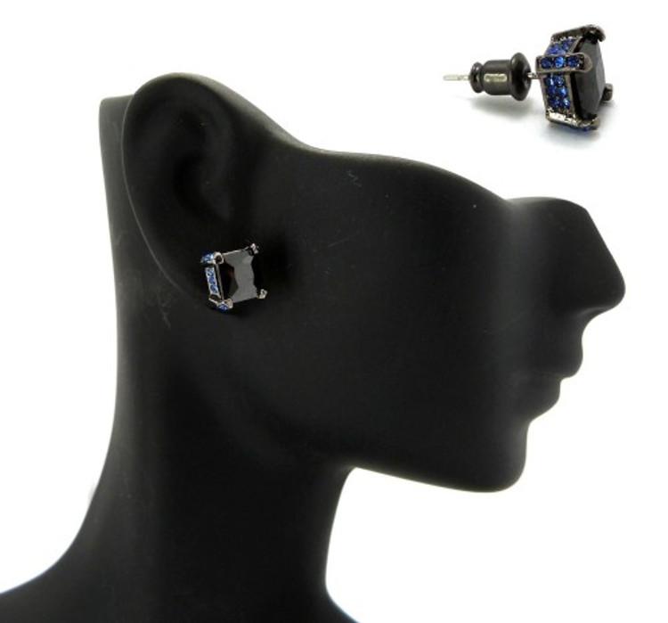 7mm Black & Blue Princess Cut Stone Hip Hop Earrings