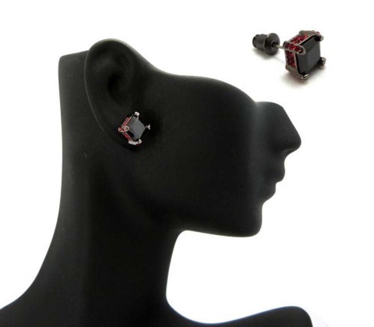 7mm Black & Red Princess Cut Stone Hip Hop Earrings