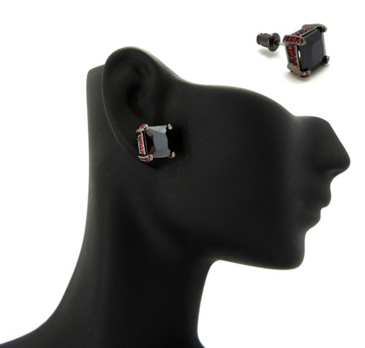 9mm Black & Red Princess Cut Stone Hip Hop Earrings