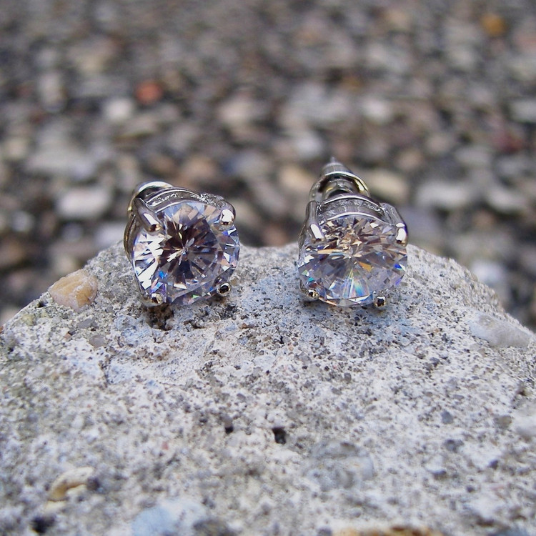 Iced Out .925 Silver 7mm Simulated Diamond Hands Set Earrings