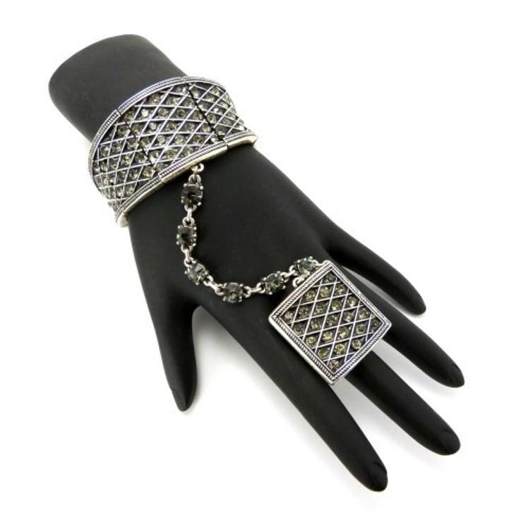 Sexy Slave Bracelet & Ring Combo Set Silver