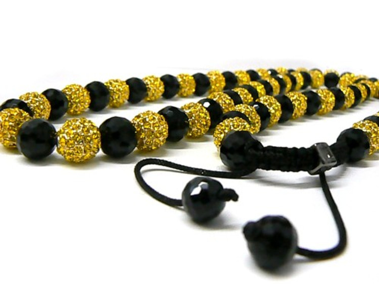 Mens Black and Yellow Diamond Cz Iced Out Disco Ball Chain Necklace