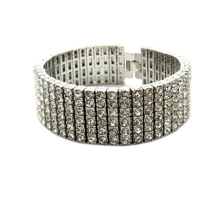 Iced Out 6 Row Pharaoh Silver Lab Diamond Bling Bracelet Bracelet