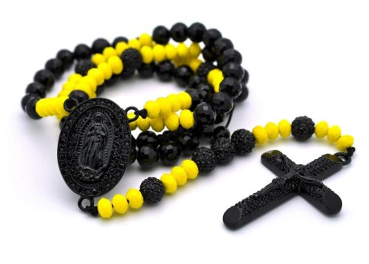 Black & Yellow Disco Ball Beaded Rosary Cross Pendant