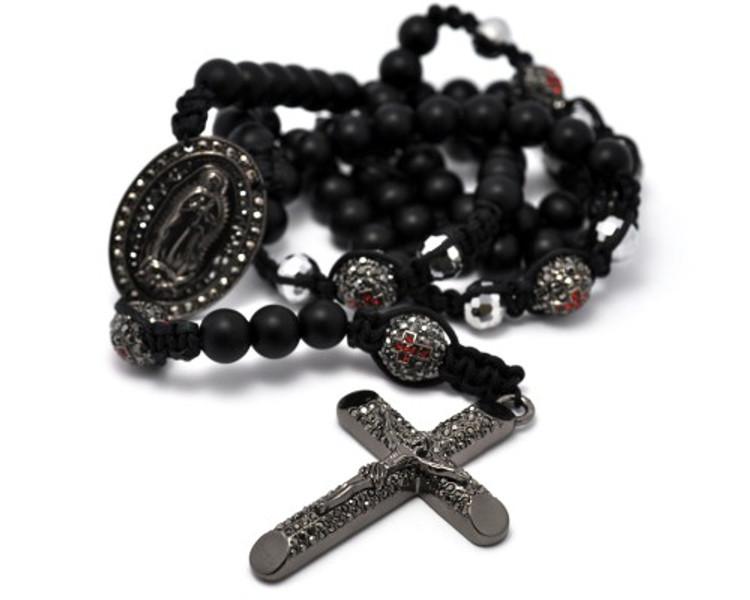 Black Hematite & Shiny Disco Ball Beaded Rosary Cross Pendant