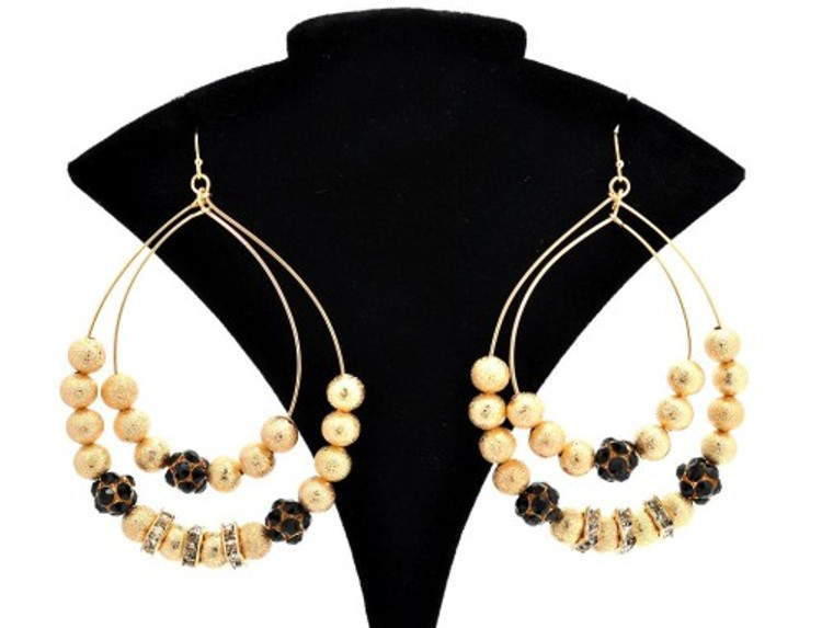 Fire Ball Cz Tear Drop Basketball Wives Style Earrings Gold