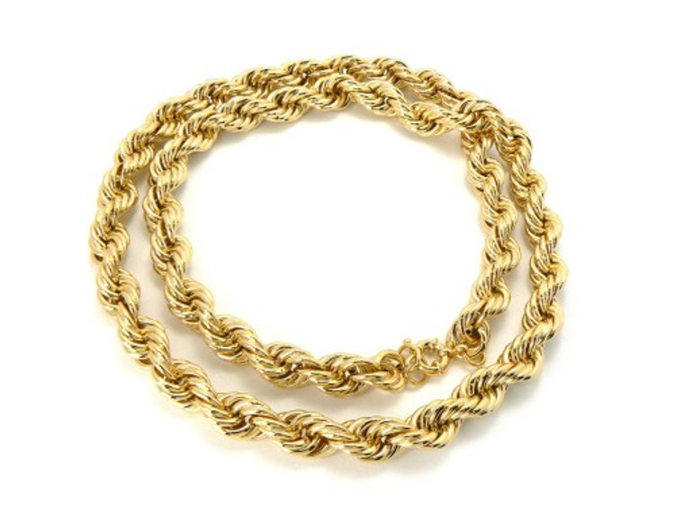 12mm 30 Inch Mens Gold Hip Hop Dookie Rope Chain Necklace