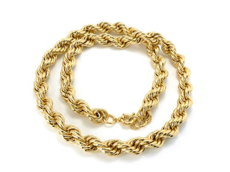 14mm 30 Inch Mens Gold Hip Hop Dookie Rope Chain Necklace