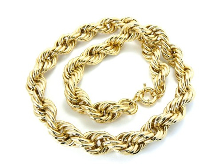 20mm Mens Gold Hip Hop Dookie Rope Chain Necklace