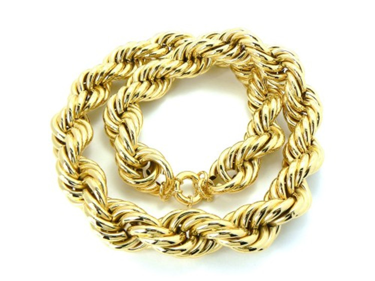 25mm Mens Gold Hip Hop Dookie Rope Chain Necklace