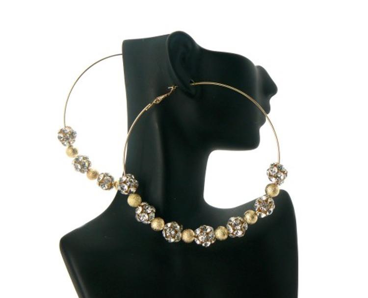 Gold Pebble Cz Basketball Wives Style Hip Hop Earrings